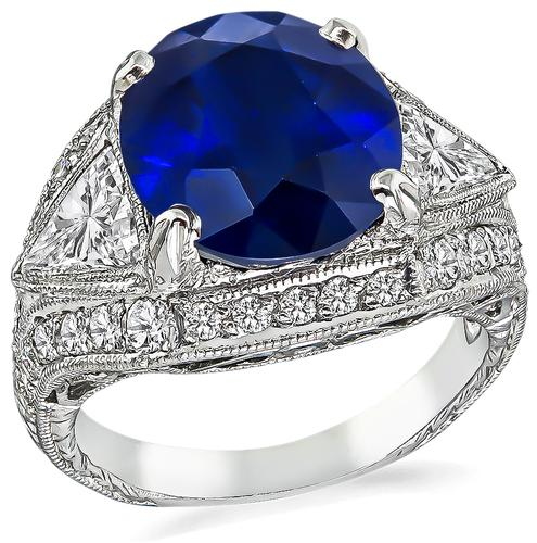 Oval Cut Sapphire Trilliant and Round Cut Diamond Platinum Engagement Ring