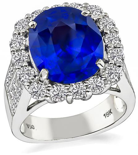 Cushion Cut Ceylon Sapphire Round and Princess Cut Diamond 18k White Gold Ring