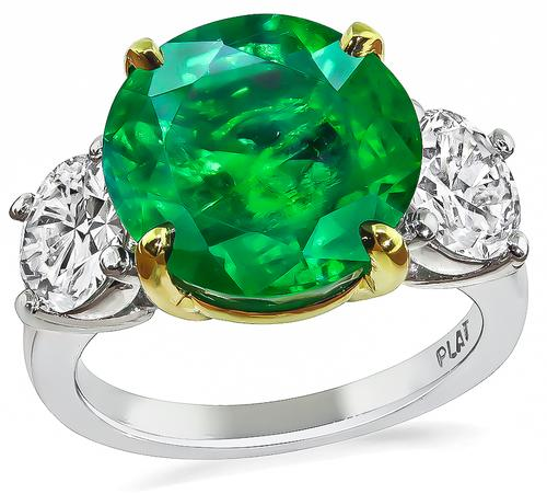 Round Cut Emerald Round Brilliant Cut Diamond Platinum Anniversary Ring