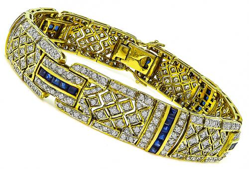 Round Cut Diamond Square Cut Sapphire 18k Yellow Gold Bracelet