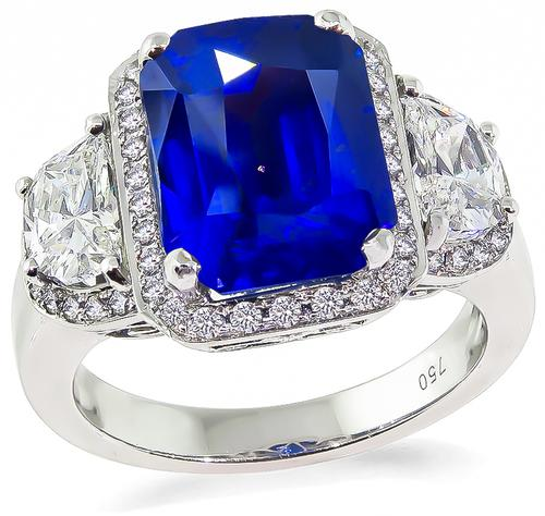 Modified Cushion Cut Ceylon Sapphire Half Moon and Round Cut Diamond 18k White Gold Engagement Ring