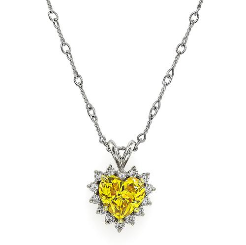 Heart Shape Yellow Diamond Round Cut Diamond 18k White Gold Pendant Necklace