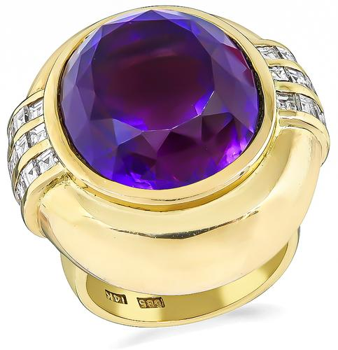 Cushion Cut Amethyst Carre Cut Diamond 14k Yellow Gold Ring