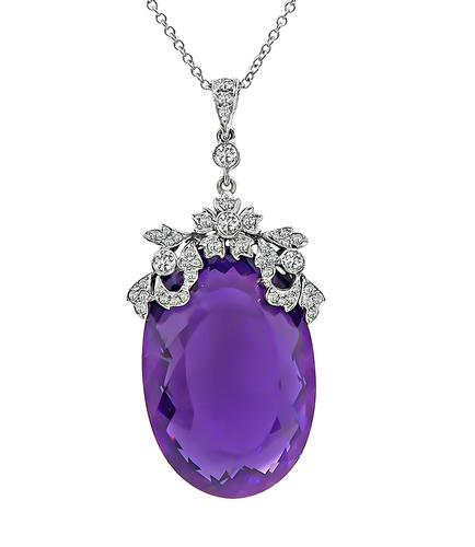Oval Cut Amethyst Round Cut Diamond 18k White Gold Pendant Necklace