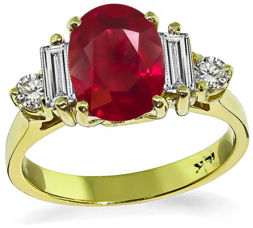 Oval Cut Burma Ruby Baguette and Round Cut Diamond 18k Yellow Gold Engagement Ring