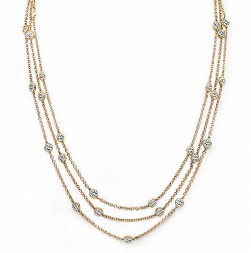 Round Cut Diamond 14k Pink Gold By The Yard Necklace