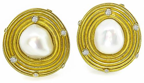 Round Cut Diamond Pearl 18k Yellow Gold Earrings by C. Walling
