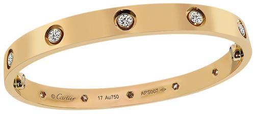 18k Pink Gold Diamond Love Bangle by Cartier