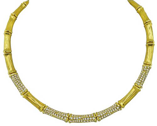Round Cut Diamond 18k Yellow Gold Bamboo Necklace by Cartier