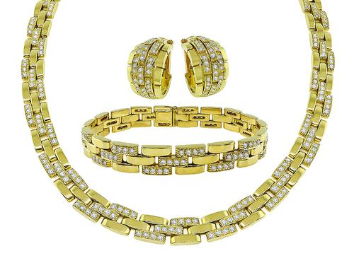 Cartier Round Cut Diamond 18k Yellow Gold Panthere Necklace Bracelet and Earrings Set