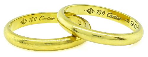 18k Yellow Gold Wedding Band Set by Cartier