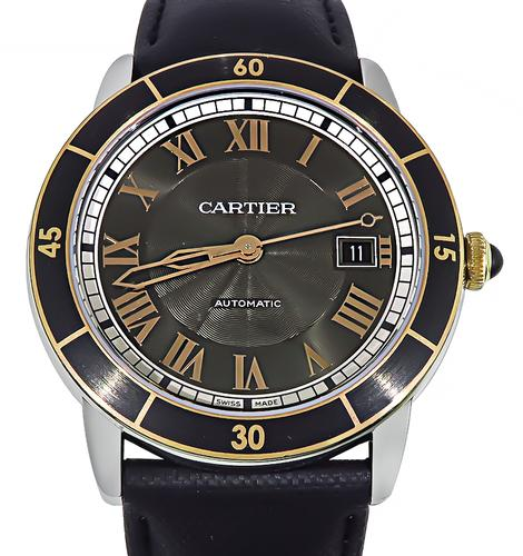 Cartier Stainless Steel Leather Strap Watch