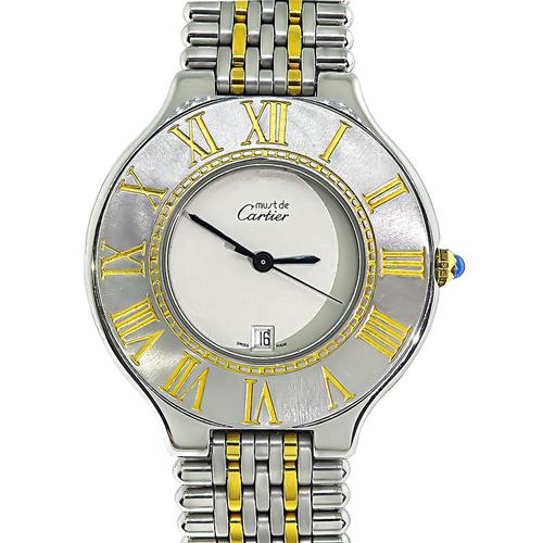 Must De Cartier Gold and Stainless Steel Watch