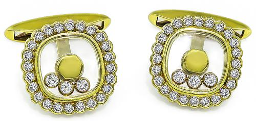 Round Cut Diamond 18k Yellow Gold Cufflinks by Chopard