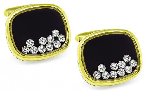 Round Cut Diamond 18k Yellow Gold Happy Diamonds Cufflinks by Chopard