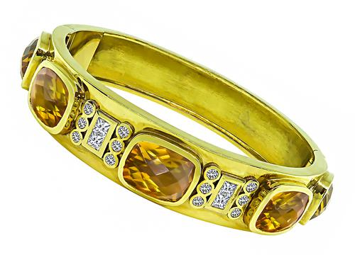 Cushion Cut Citrine Round and Princess Cut Diamond 18k Yellow Gold Bangle