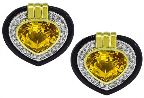 Pear Shape Citrine Round Cut Diamond Onyx 18k Yellow and White Gold Heart Earrings