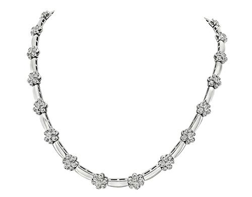 Round Cut Diamond 14k White Gold Necklace