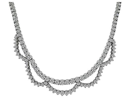 Round Cut Diamond 18k White Gold Necklace