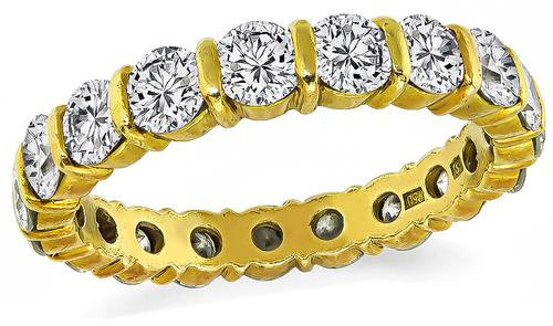Round Cut Diamond 18k Yellow Gold Eternity Wedding Band by H Stern