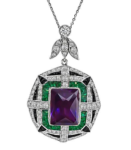 Estate French Cut Amethyst Round Cut Diamond 18k White Gold Pendant Necklace
