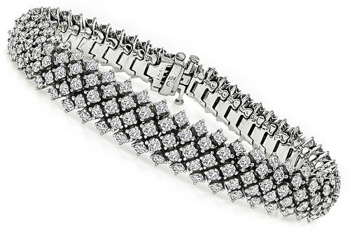 Round Cut Diamond 14k White Gold Bracelet