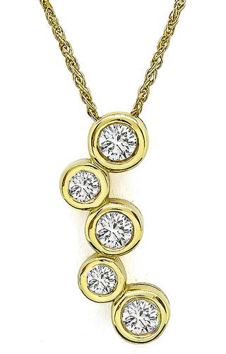 Round Cut Diamond 14k Yellow Gold Bubbles Style Pendant Necklace