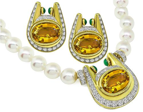 Oval Cut Citrine Round Cut Diamond Cabochon Emerald Pearl 18k Gold Necklace and Earrings Set