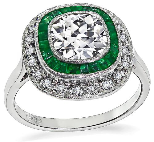 Art Deco Style Cushion Cut Diamond Emerald Platinum Engagement Ring