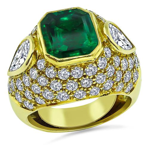 Emerald Cut Colombian Emerald Pear and Round Cut Diamond 18k Yellow Gold Ring