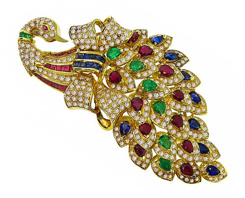Pear and Square Cut Ruby Emerald Sapphire Round Cut Diamond 18k Yellow Gold Peacock Pin