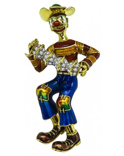 Round Cut Diamond Enamel 18k Yellow Gold Clown Pin / Pendant