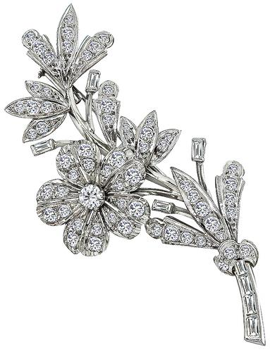 Round and Baguette Cut Diamond Platinum Flower Pin