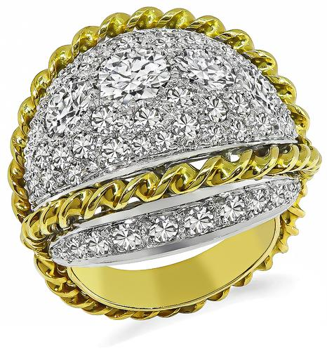 Round Cut Diamond 18k Yellow and White Gold Cocktail Ring