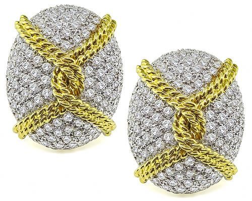 Round Cut Diamond 18k White and Yellow Gold Earrings