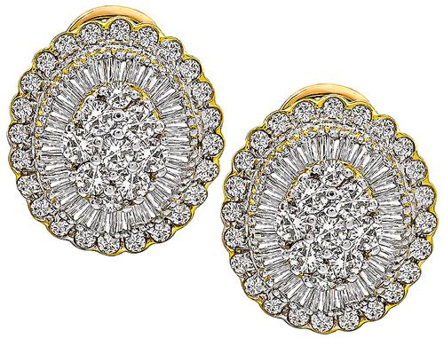 Round and Baguette Cut Diamond 18k Yellow Gold Earrings