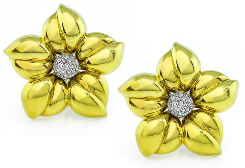 Round Cut Diamond 18k Yellow and White Gold Flower Earrings
