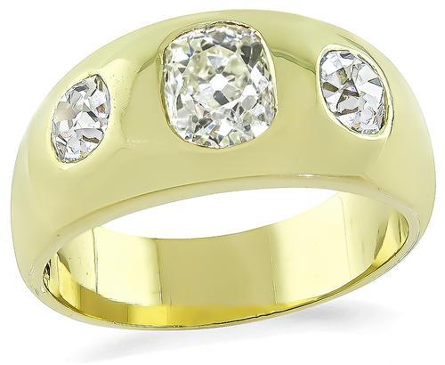 Victorian Cushion Cut Light Fancy Yellow Diamond Cushion Cut Diamond 14k Yellow Gold Ring