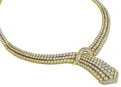 Round and Baguette Cut Diamond 18k Yellow Gold Necklace