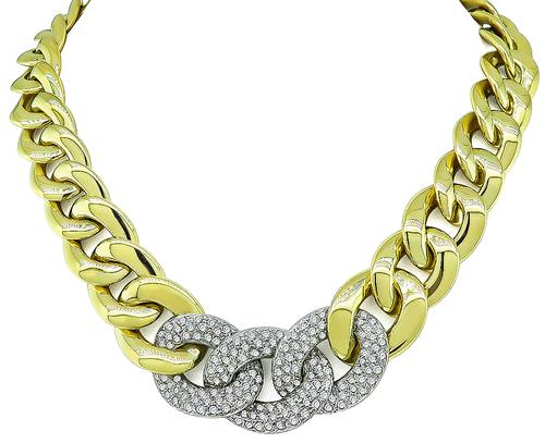 Round Cut Diamond Two Tone 14k Yellow and White Gold Necklace