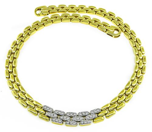 Round Cut Diamond 18k Yellow and White Gold Necklace