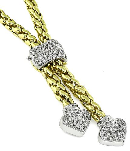 Round Cut Diamond 14k Yellow and White Gold Necklace