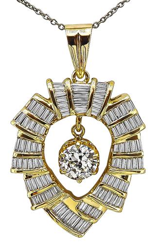 1.11ct Old Mine Cut Diamond 2.50ct Baguette Cut Diamond 18k Yellow Gold Pendant