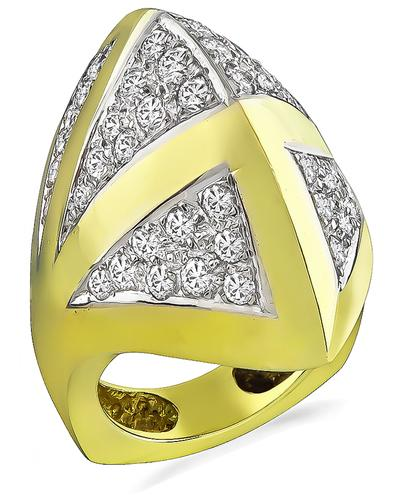 Round Cut Diamond 18k Yellow and White Gold Fashion Ring