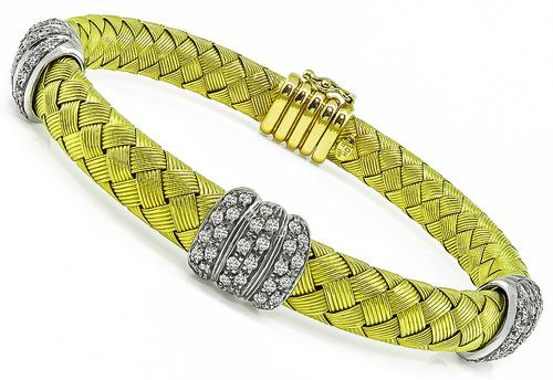 Round Cut Diamond 18k Yellow and White Gold Weave Bracelet