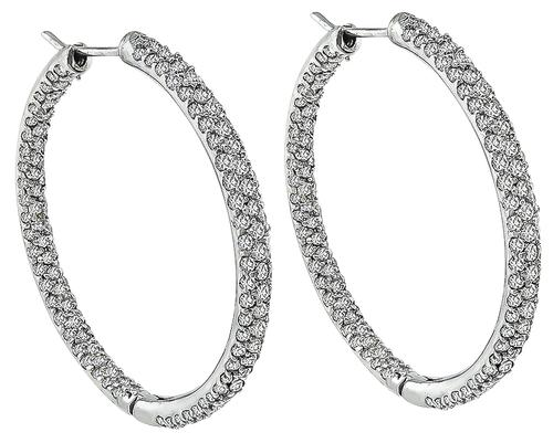 Round Cut Diamond 14k White Gold Hoops Earrings