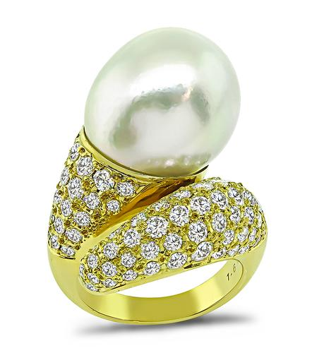 Round Cut Diamond Tear Drop Shape South Sea Pearl 18k Yellow Gold Ring