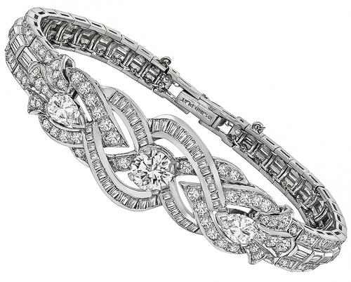 7.10ct Round Pear and Baguette Cut Diamond Platinum Bracelet