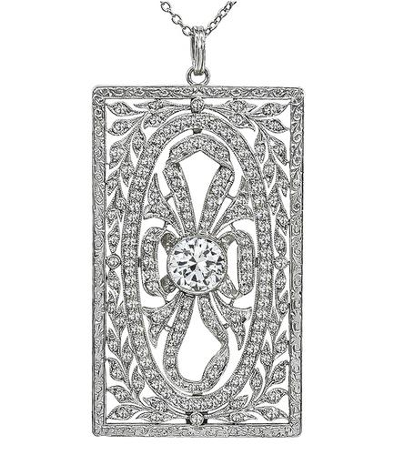Old Mine and Round Cut Diamond Platinum Pendant Necklace