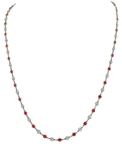 Round Cut Diamond and Ruby 18k Yellow Gold Platinum By The Yard Necklace